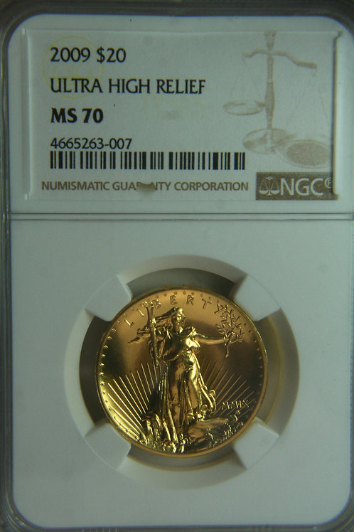 2009 $20 Ultra High Relief Gold Coin - NGC MS70