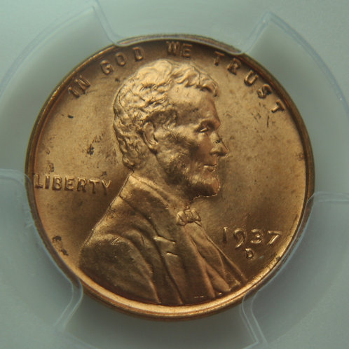 1937-D Lincoln One Cent PCGS MS65 Red
