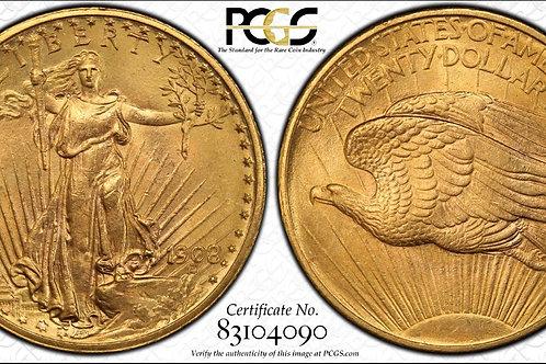 1908 $20 Double Eagle No Motto PCGS MS64