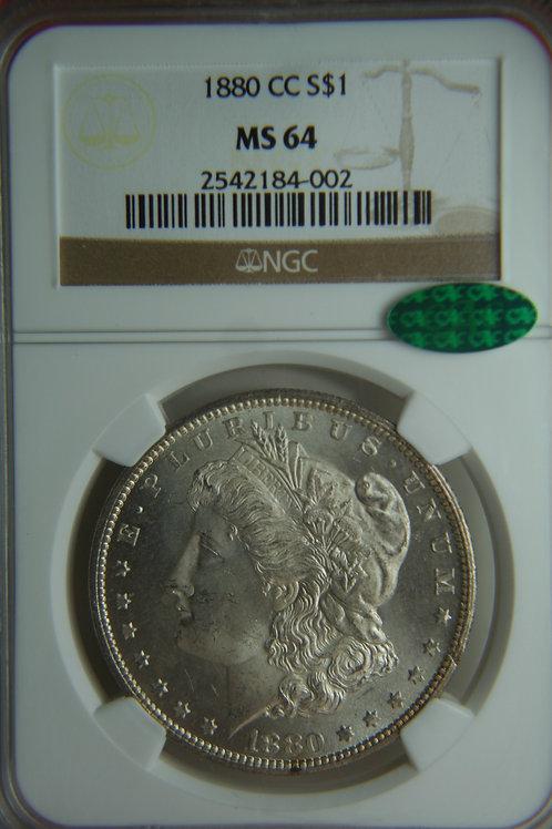 1880-CC Morgan Silver Dollar NGC MS64 & CAC