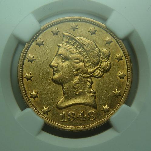 1848-O $10 Gold Eagle NGC XF45