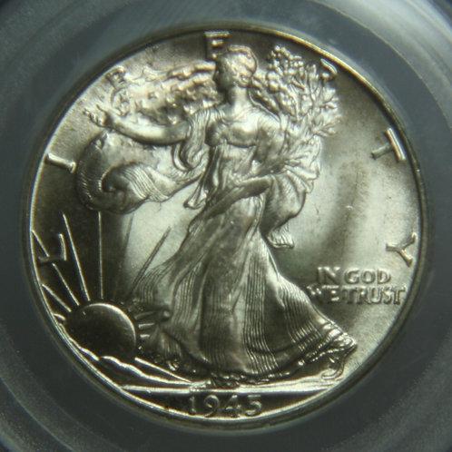 1945-D Liberty Walking Half Dollar PCGS MS65