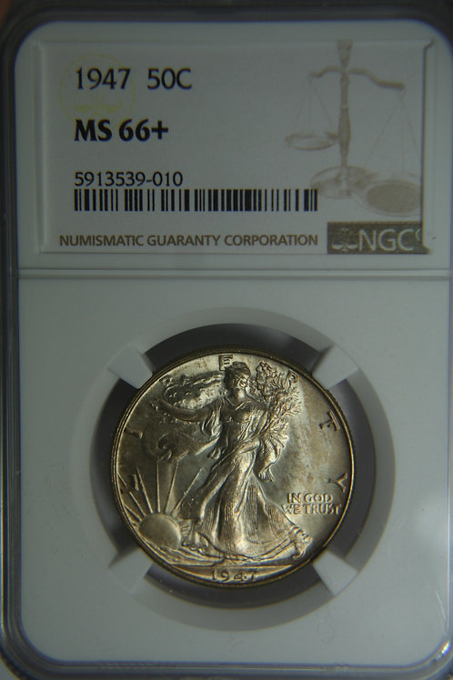 1947 Liberty Walking Half Dollar - NGC MS66+