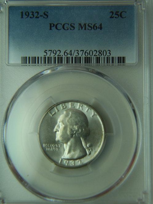 1932-S Washington Quarter PCGS MS64