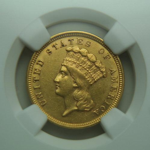 1854 $3 Princess Gold NGC AU55