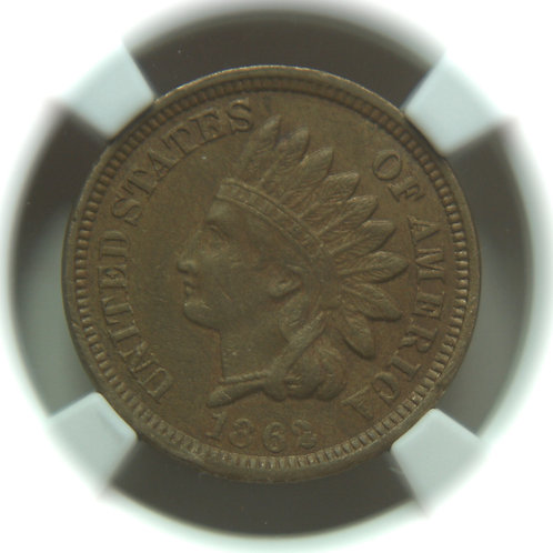 1862 Indian Head One Cent NGC AU55