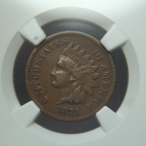 1871 Indian Head One Cent NGC VF30BN