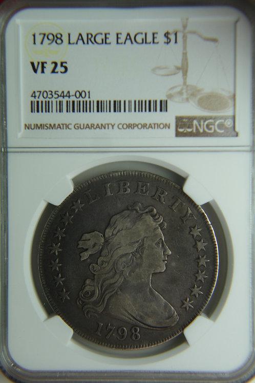 1798 Draped Bust Silver Dollar Large Eagle NGC VF25