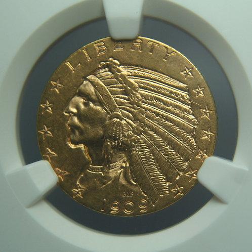1909-D $5.00 Half Gold Eagle NGC AU58