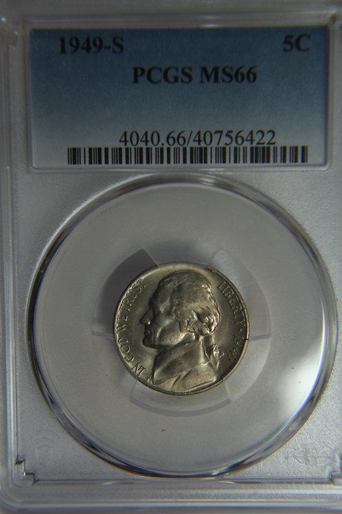 1949-S Jefferson Nickel - PCGS MS66