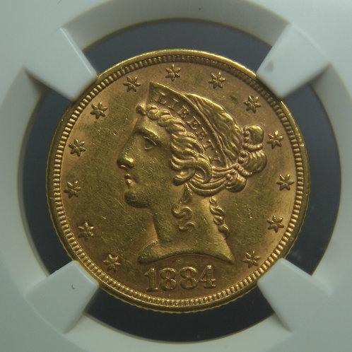 1884 $5.00 Half Gold Eagle NGC AU58