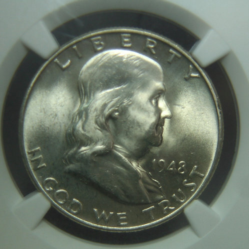 1948 Franklin Half Dollar NGC MS65 FBL
