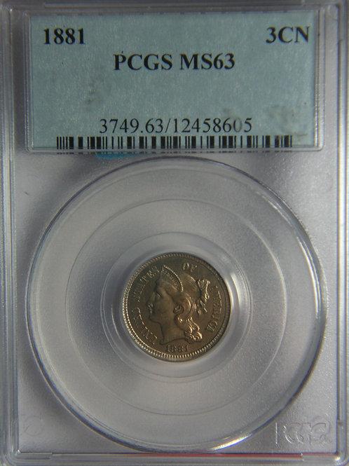 1881 Three Cent Nickel PCGS MS63