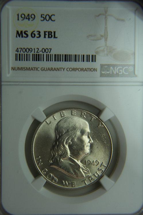 1949 Franklin Half Dollar NGC MS63 FBL