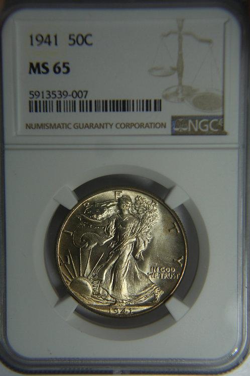 1941 Liberty Walking Half Dollar - NGC MS65