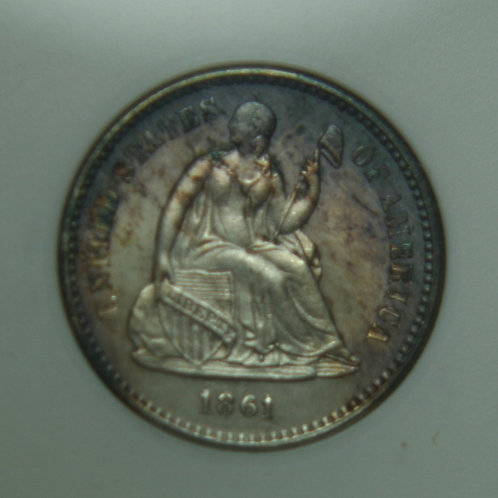 1861/O Liberty Seated Half Dime ANACS MS63