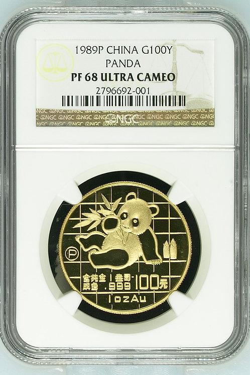 1989 Gold Panda One Troy Ounce NGC PF68 Ultra Cameo