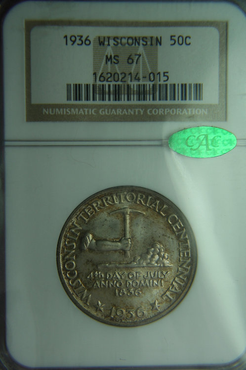 1936 Wisconsin Half Dollar NGC MS67 & CAC Approved
