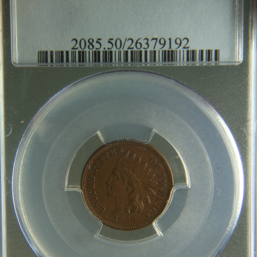 1866 Indian Head One Cent PCGS AU50