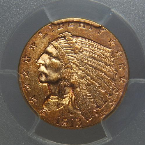 1913 $2.50 Quarter Gold Eagle PCGS AU58