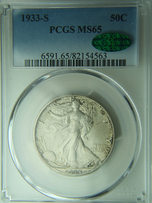 1933-S Liberty Walking Silver Half Dollar PCGS MS65 & CAC