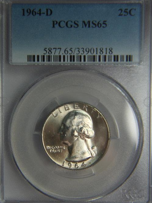 1964-D Washington Silver Quarter PCGS MS65