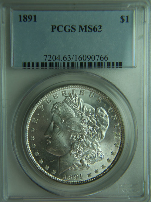 1891 Morgan Silver Dollar PCGS MS63