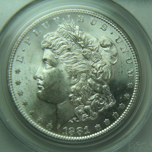 1881-S Morgan Silver Dollar PCGS MS64 - Older Green Holder