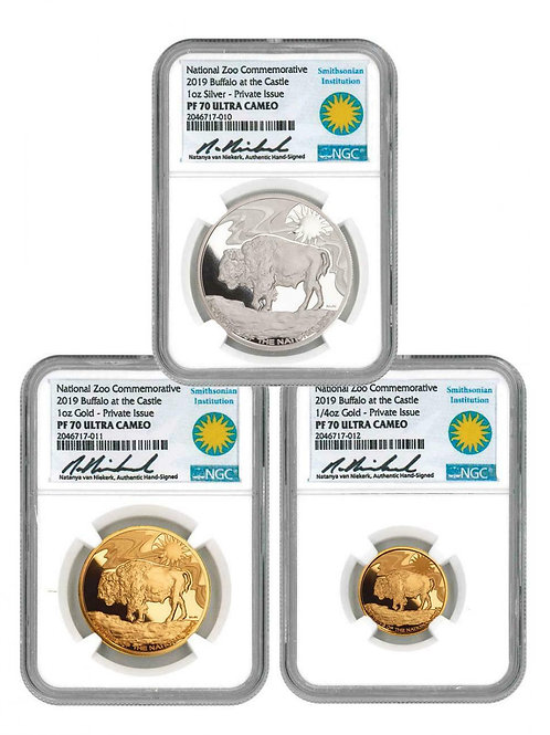 2019 Smithsonian Zoo 3-Coin Buffalo Set Gold + Silver Medal NGC PF70 Ultra Cameo