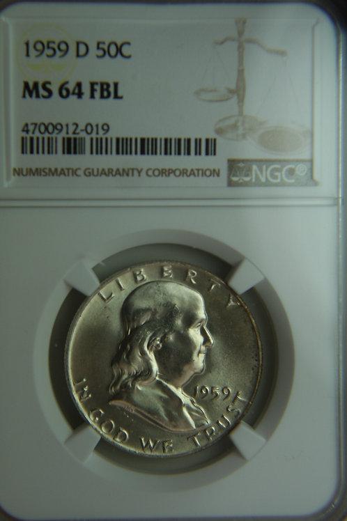 1959-D Franklin Half Dollar NGC MS64 FBL
