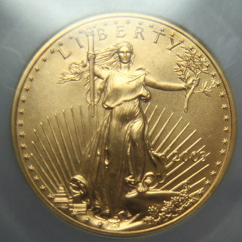 2003 American Gold Eagle $50 One Troy Oz ICG MS70