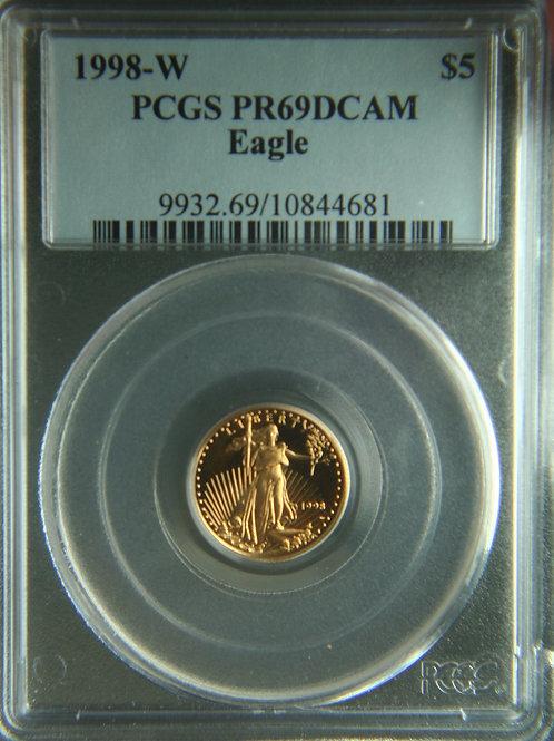 1998-W $5 American Gold Proof Eagle 1/10 PCGS PR69DCAM