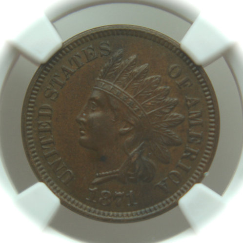 1871 Indian Head One Cent NGC AU58 BN