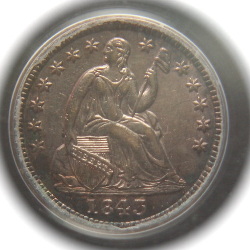 1843 Liberty Seated Silver Half Dime - PCGS AU53