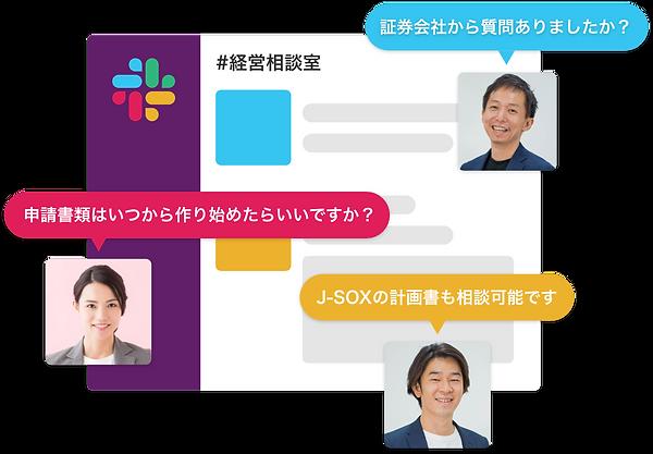IPO相談室サービスイメージslack画面