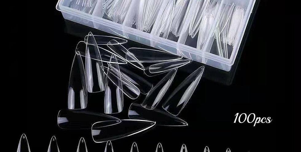 Stiletto long clear nails 120pcs