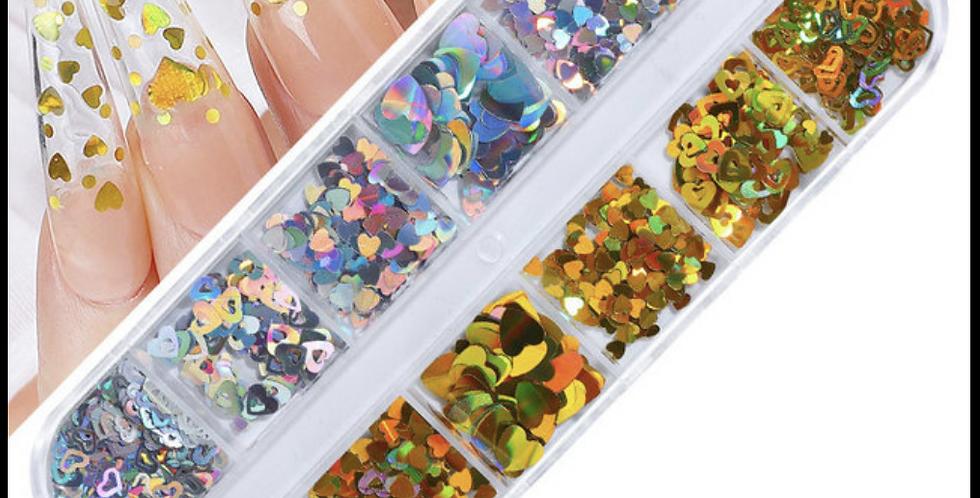 Nail art box hearts