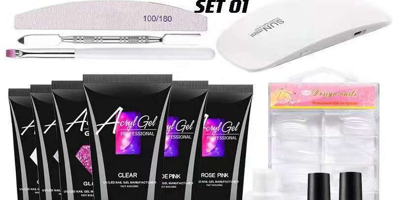 Polygel mixed kit with lamp + Free gift