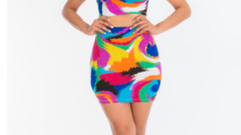 Sh'Poppin 2 Piece Crop Top Skirt Set