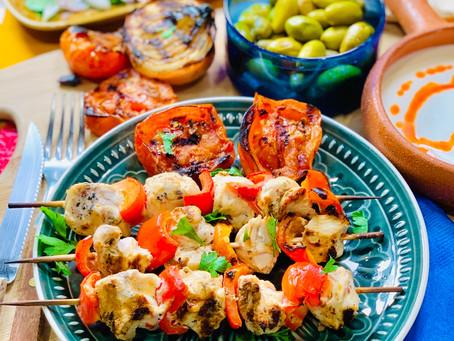Shish Taouk Recipe. Grilled Lemon-Garlic Middle Eastern Chicken Skewers