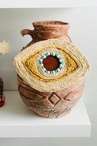 Suede Natural Wall Décor Pendant - Handmade Evil Eye – Medium