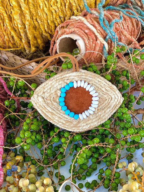 Suede Turquoise Wall Décor Pendant - Handmade Evil Eye –Small