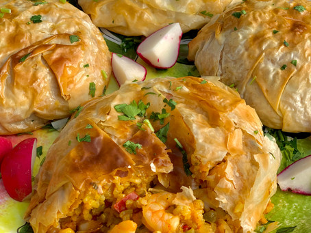 Seafood Rice Phyllo Parcels