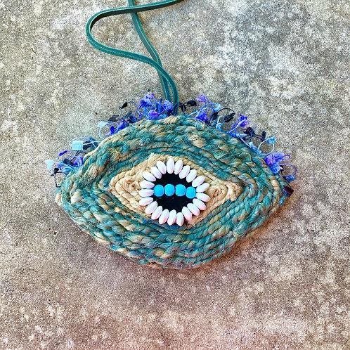 Blue Flutter Wall Décor Pendant - Handmade Evil Eye –Small