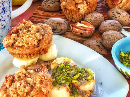 Whole Wheat Banana Muffins with Pecan Streusel