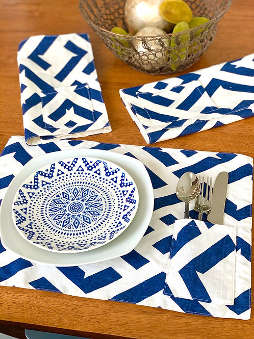 Navy Mod - Placemat with Flatware Pocket