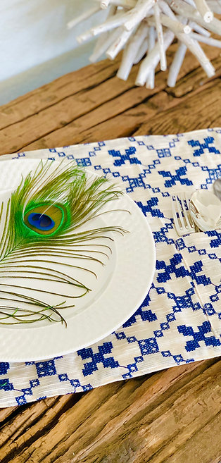 Embroidered Blu - Placemat with Flatware Pocket