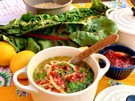 Rishta, Lentils and Swiss Chard Soup