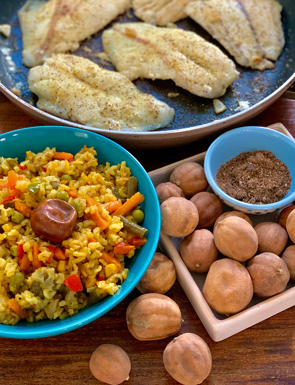 Vegetable Pilaf with Dried Limes (loomi), Pan Roasted Fish