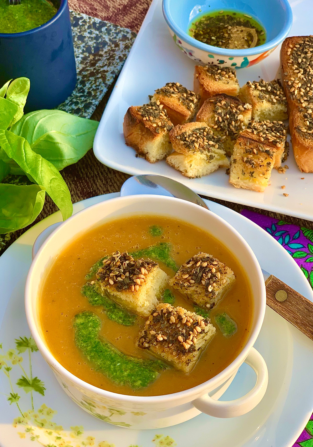 Carrot and Sweet Potato Soup with Zatar Brioche Croutons